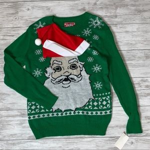 JEM Nordstrom Green Santa Sweater Large NWT